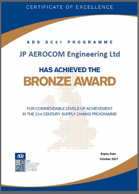 JP Aero's SC21 Bronze Certificate