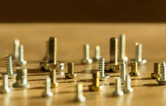 A selection of typical fasteners