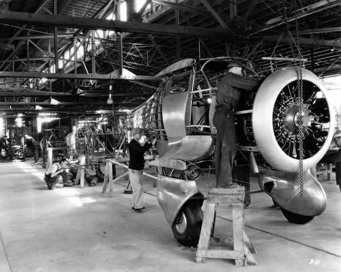A Beech YC-43 assembly line