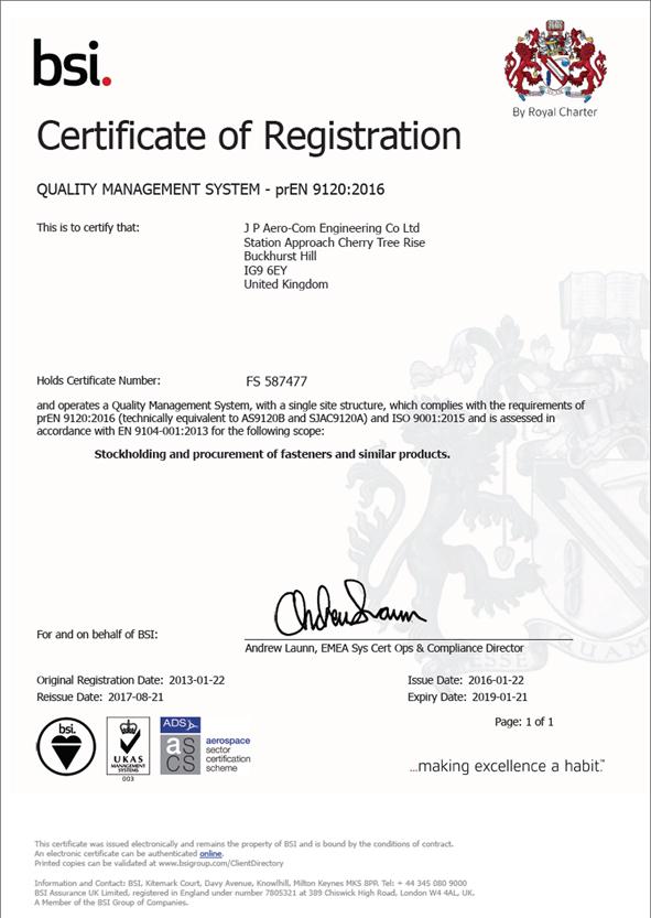 AS9120 REV B Certificate
