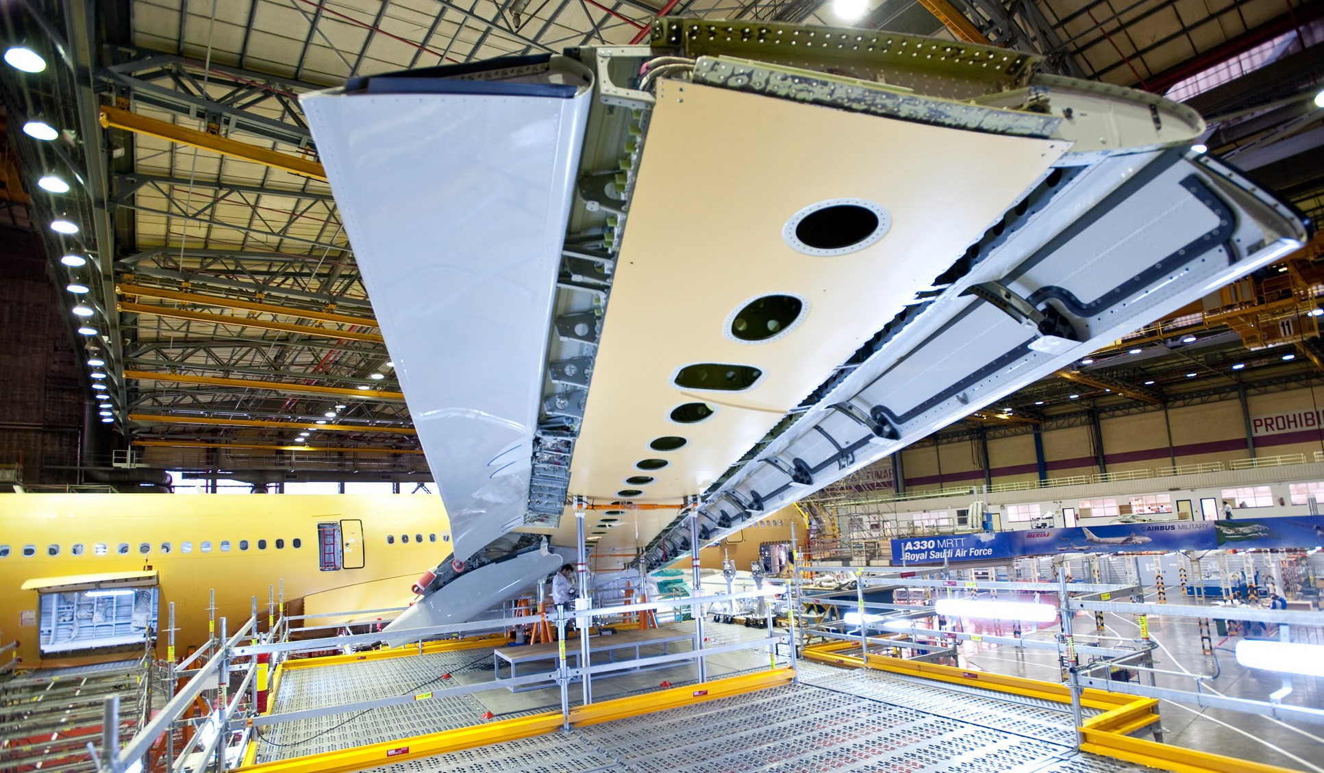 An A330 wing being built in a factory