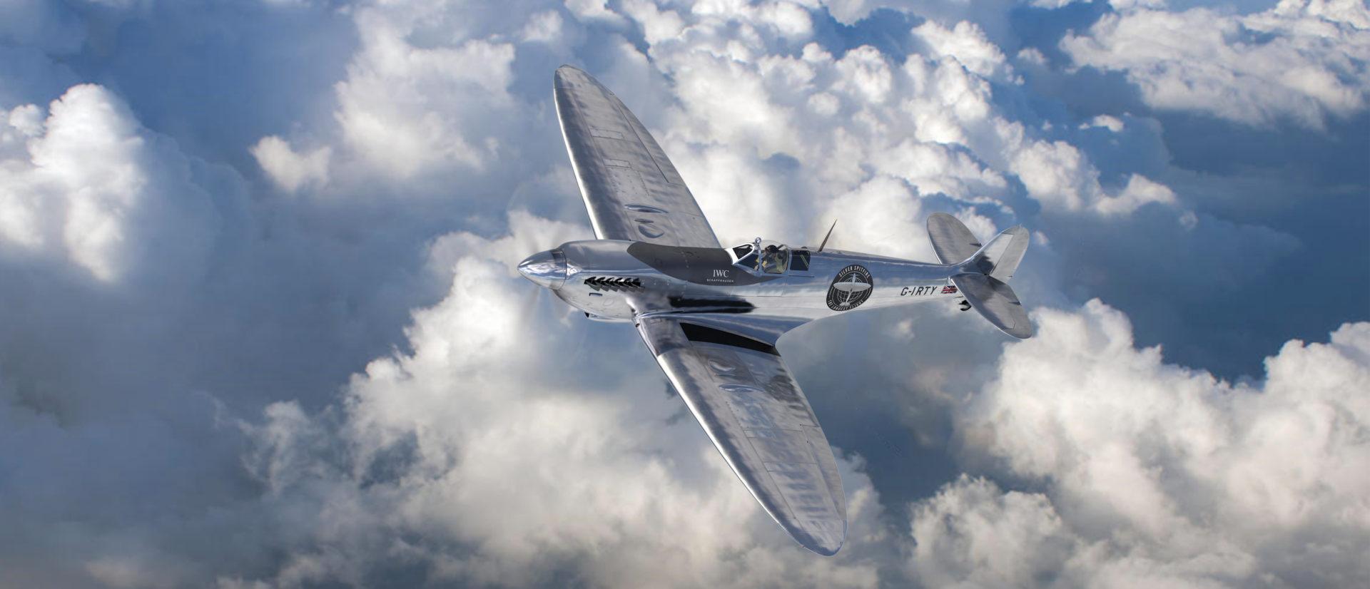 Silver Spitfire in mid flight