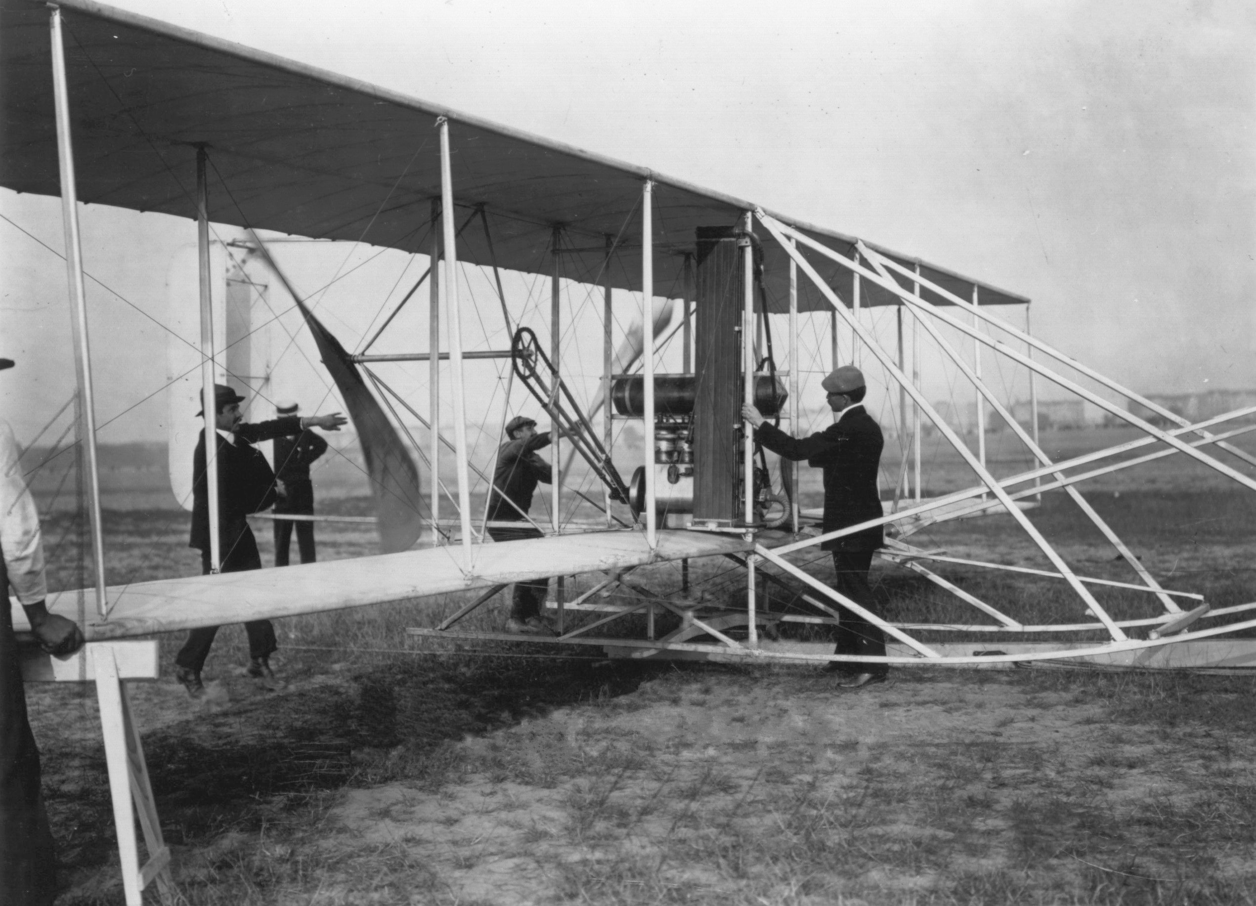 Orville Wright with a later Model A Flyer at Tempelhof Field in Berlin