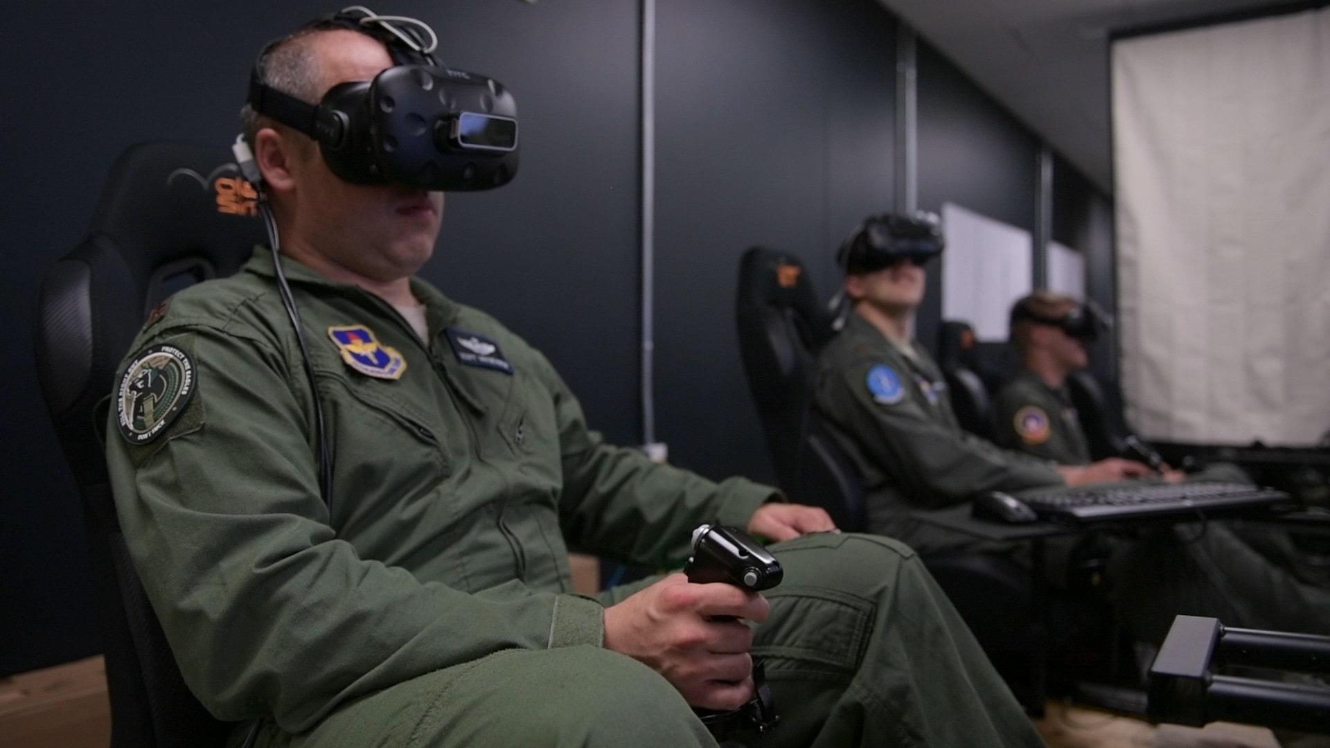 US Pilot using a virtual reality headset as a flight simulator