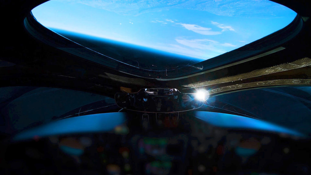 view of earth from virgin galactic space shuttle
